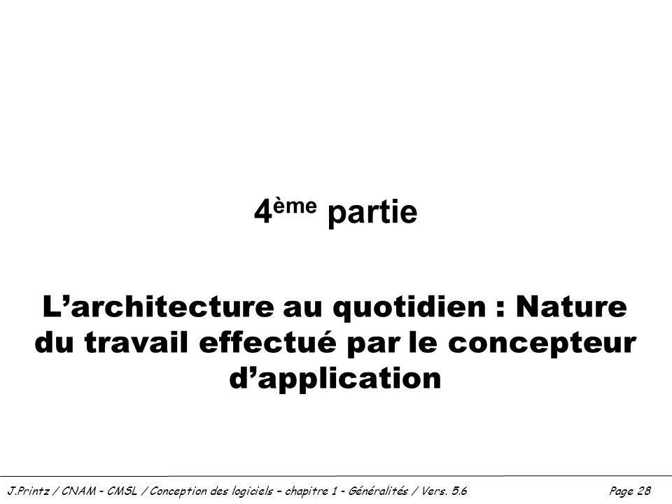 J.Printz / CNAM - CMSL / Conception des logiciels – chapitre 1 - Généralités / Vers. 5.6Page 28 4 ème partie Larchitecture au quotidien : Nature du tr
