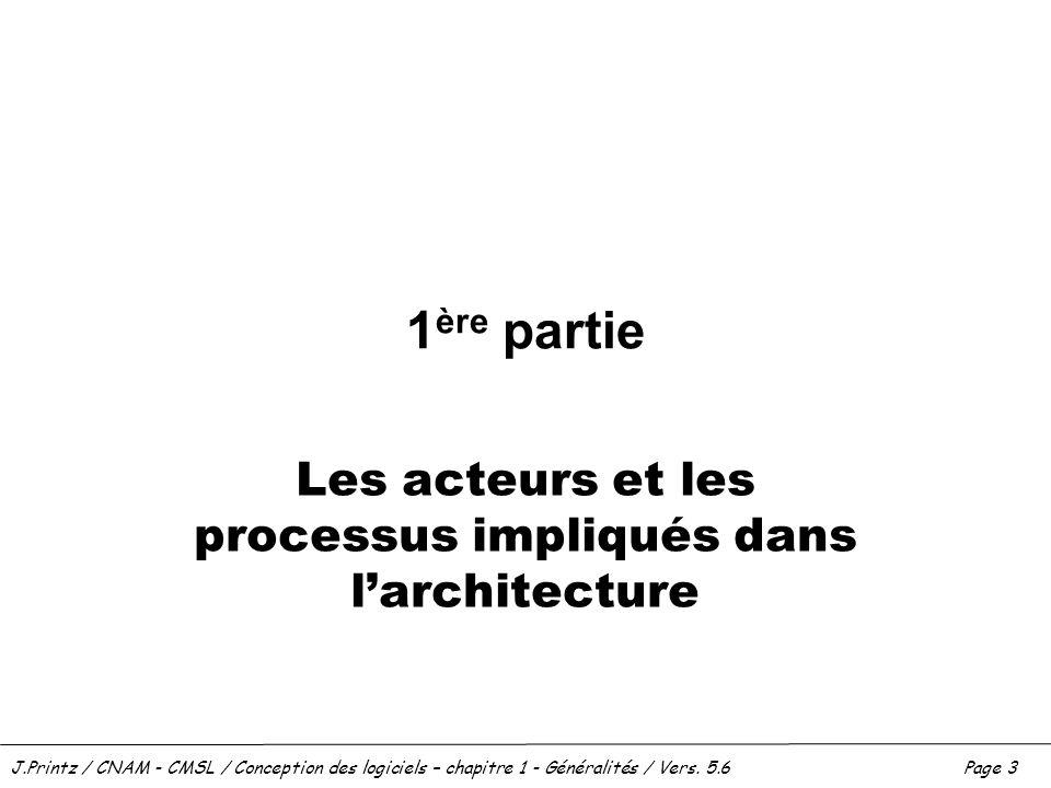 J.Printz / CNAM - CMSL / Conception des logiciels – chapitre 1 - Généralités / Vers. 5.6Page 3 1 ère partie Les acteurs et les processus impliqués dan