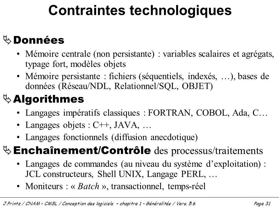 J.Printz / CNAM - CMSL / Conception des logiciels – chapitre 1 - Généralités / Vers. 5.6Page 31 Contraintes technologiques Données Mémoire centrale (n