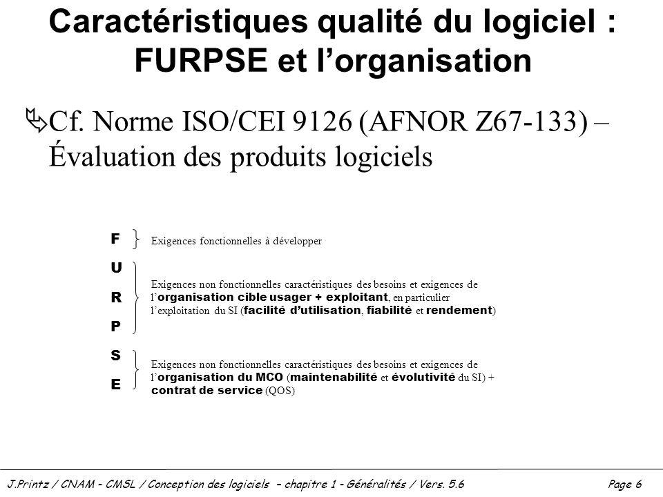 J.Printz / CNAM - CMSL / Conception des logiciels – chapitre 1 - Généralités / Vers. 5.6Page 6 Caractéristiques qualité du logiciel : FURPSE et lorgan