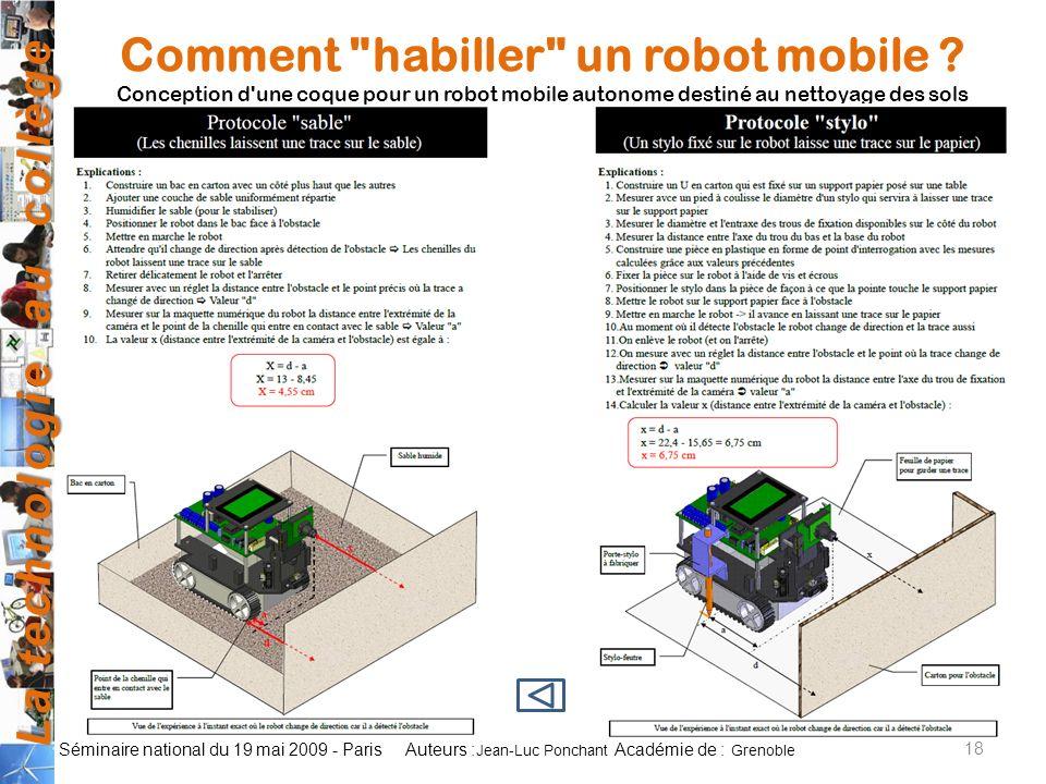 La technologie au collège Auteurs : Académie de : Séminaire national du 19 mai 2009 - Paris 18 Jean-Luc Ponchant Grenoble Comment habiller un robot mobile .
