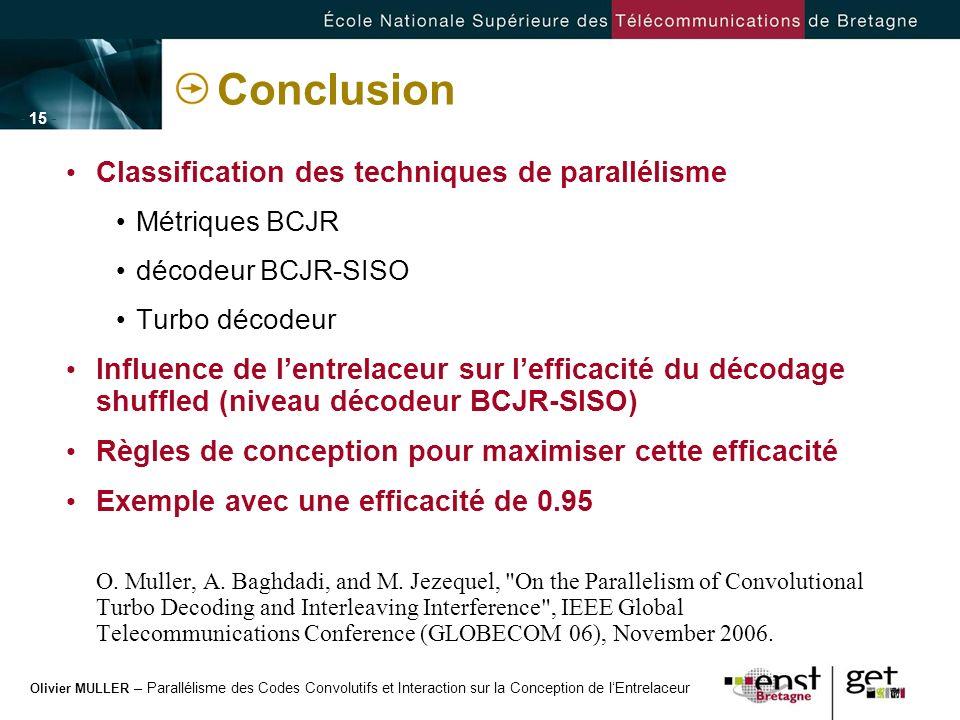 Olivier MULLER – Parallélisme des Codes Convolutifs et Interaction sur la Conception de lEntrelaceur - 15 - Conclusion Classification des techniques d