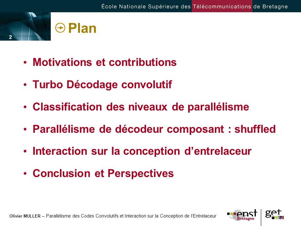 Olivier MULLER – Parallélisme des Codes Convolutifs et Interaction sur la Conception de lEntrelaceur - 2 -- 2 - Plan Motivations et contributions Turb