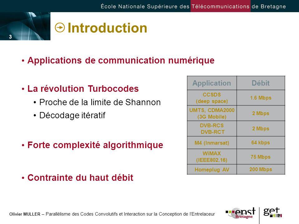 Olivier MULLER – Parallélisme des Codes Convolutifs et Interaction sur la Conception de lEntrelaceur - 14 - Exemple de conception Exemple : paquet MPEG 188 octets ou 752 symboles avec un code double binaire Parallélisme de sous-blocs (P) : 47 Taille du sous-bloc (M) : 16 t p = 0 Permutation Décomposition temporelle Décomposition spatiale P-périodique Efficacité de 0.95