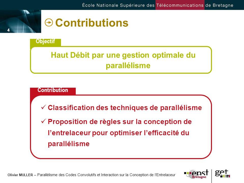 Olivier MULLER – Parallélisme des Codes Convolutifs et Interaction sur la Conception de lEntrelaceur - 4 -- 4 - Contributions Objectif Haut Débit par