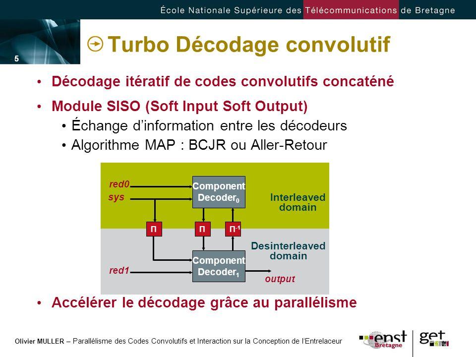 Olivier MULLER – Parallélisme des Codes Convolutifs et Interaction sur la Conception de lEntrelaceur - 5 -- 5 - Turbo Décodage convolutif Décodage ité
