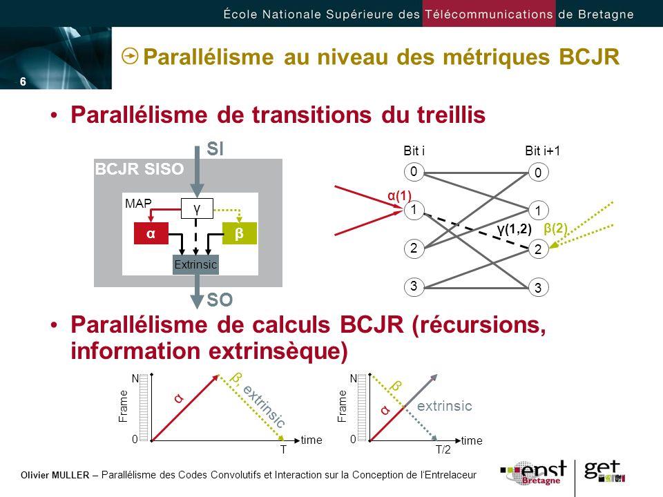 Olivier MULLER – Parallélisme des Codes Convolutifs et Interaction sur la Conception de lEntrelaceur - 6 -- 6 - Parallélisme au niveau des métriques B
