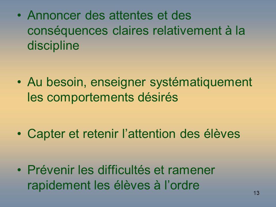 13 Annoncer des attentes et des conséquences claires relativement à la discipline Au besoin, enseigner systématiquement les comportements désirés Capt