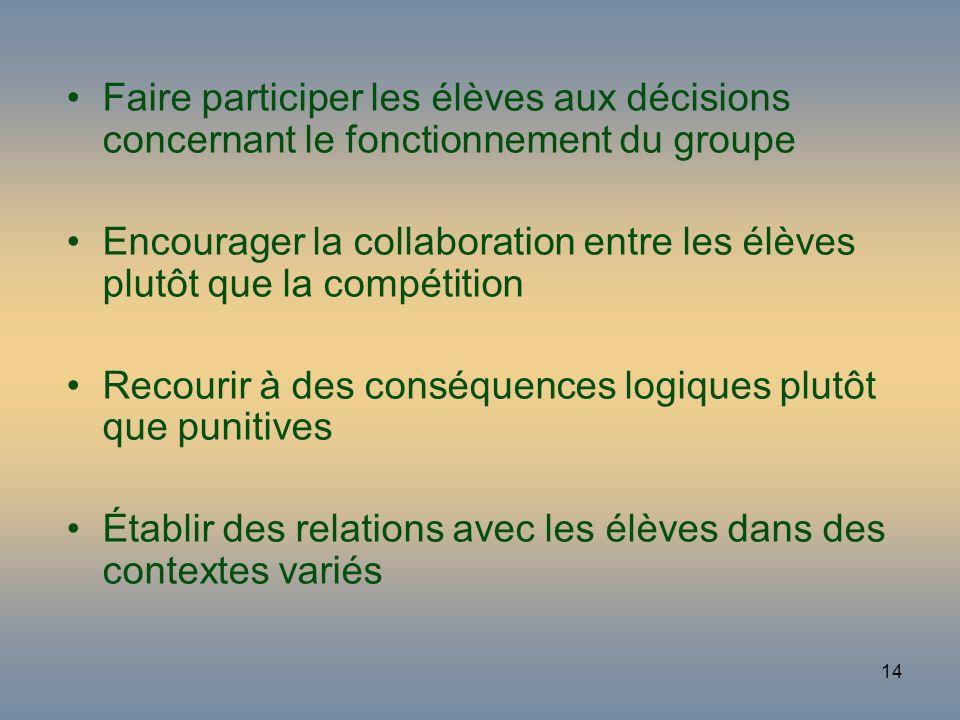 14 Faire participer les élèves aux décisions concernant le fonctionnement du groupe Encourager la collaboration entre les élèves plutôt que la compéti