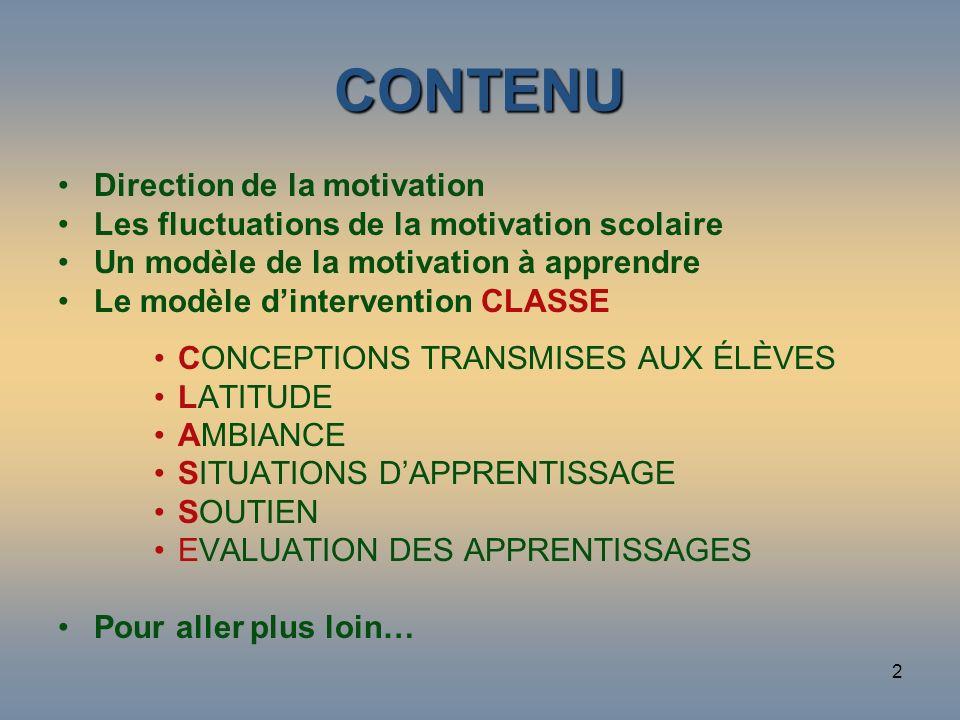 2 CONTENU Direction de la motivation Les fluctuations de la motivation scolaire Un modèle de la motivation à apprendre Le modèle dintervention CLASSE