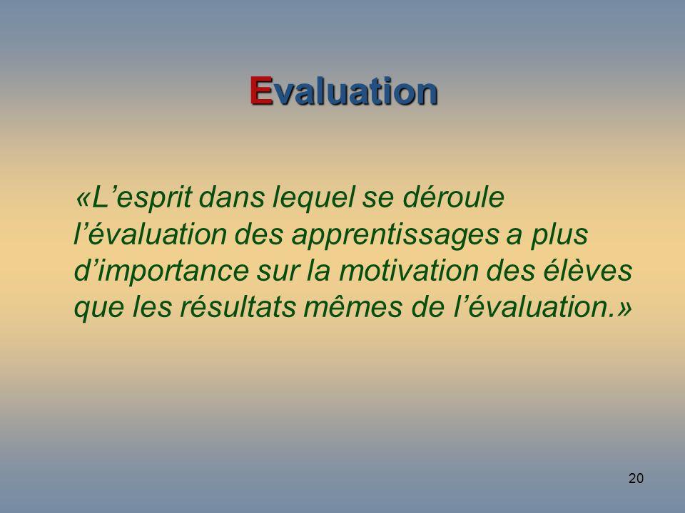 20 Evaluation «Lesprit dans lequel se déroule lévaluation des apprentissages a plus dimportance sur la motivation des élèves que les résultats mêmes d