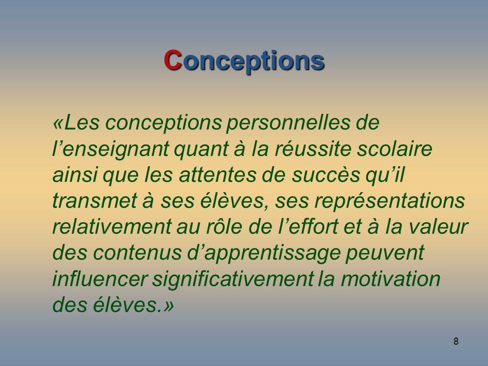 8 Conceptions «Les conceptions personnelles de lenseignant quant à la réussite scolaire ainsi que les attentes de succès quil transmet à ses élèves, s