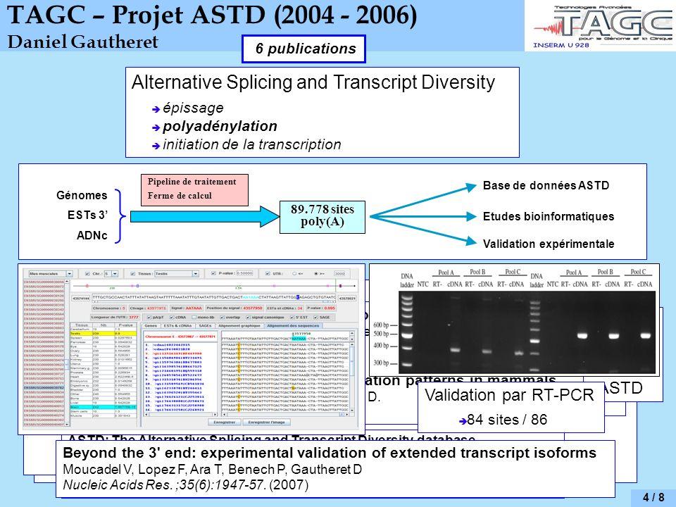 4 / 8 TAGC – Projet ASTD (2004 - 2006) Daniel Gautheret Alternative Splicing and Transcript Diversity épissage polyadénylation initiation de la transcription Génomes ESTs 3 ADNc Pipeline de traitement Ferme de calcul 89.778 sites poly(A) Base de données ASTD Validation expérimentale Etudes bioinformatiques Conception et programmation du pipeline (C++, C, AWK, SHELL) Achat / installation / gestion de la ferme de calcul (10 machines, Linux) Parallélisme de données avec SGE (Sun Grid Engine) et Ganglia Rédaction dune documentation technique pour lEBI Présentation du travail lors de la réunion finale du projet ASTD ASTD: The Alternative Splicing and Transcript Diversity database Koscielny G, Le Texier V, Gopalakrishnan C, Kumanduri V, Riethoven JJ, Nardone F, Stanley E, Fallsehr C, Hofmann O, Kull M, Harrington E, Boué S, Eyras E, Plass M, Lopez F, Ritchie W, Moucadel V, Ara T, Pospisil H, Herrmann A, Reich J.