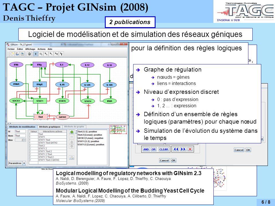 TBrowser GINsim Intégration de diverses sources de données pour la modélisation Transcriptome, ChIP-on-chip, ChIP-seq, littérature scientifique, « tex