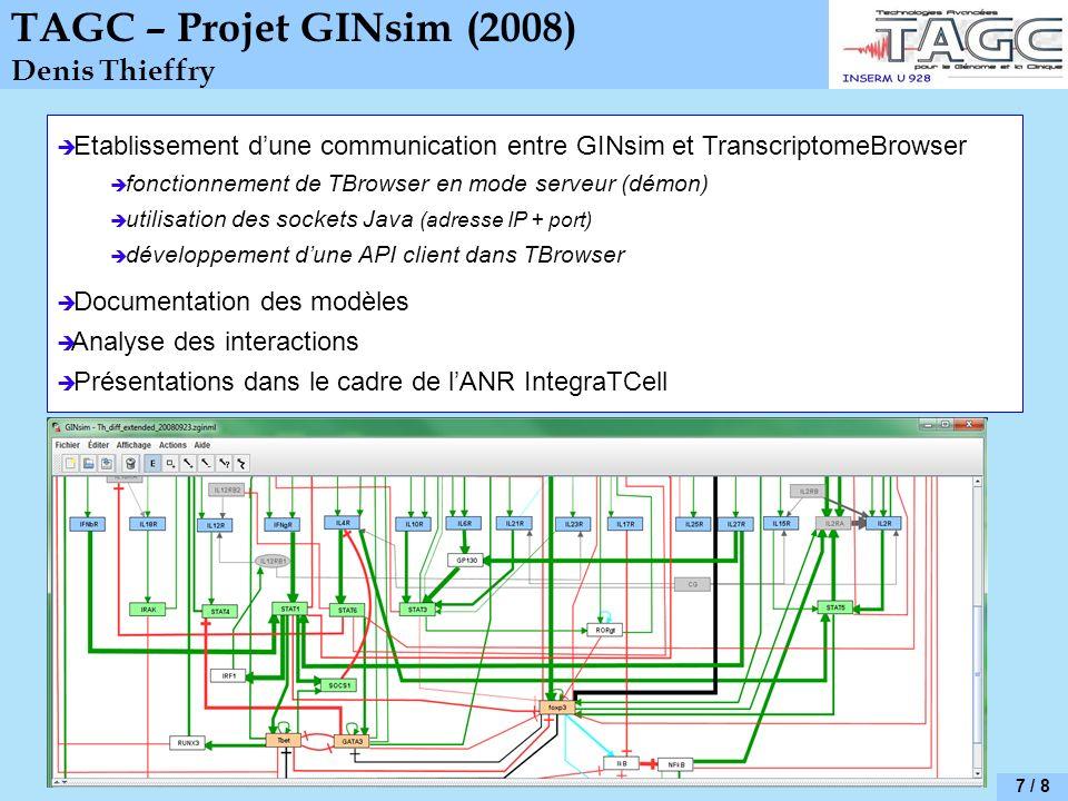 7 / 8 TAGC – Projet GINsim (2008) Denis Thieffry Etablissement dune communication entre GINsim et TranscriptomeBrowser fonctionnement de TBrowser en m