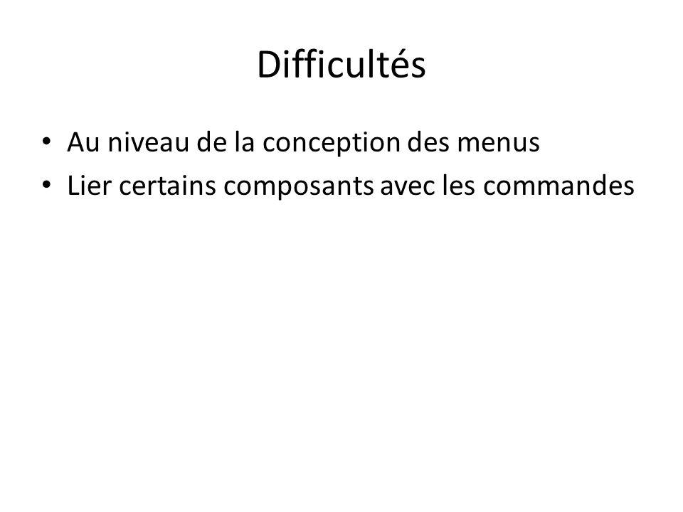 Difficultés Au niveau de la conception des menus Lier certains composants avec les commandes