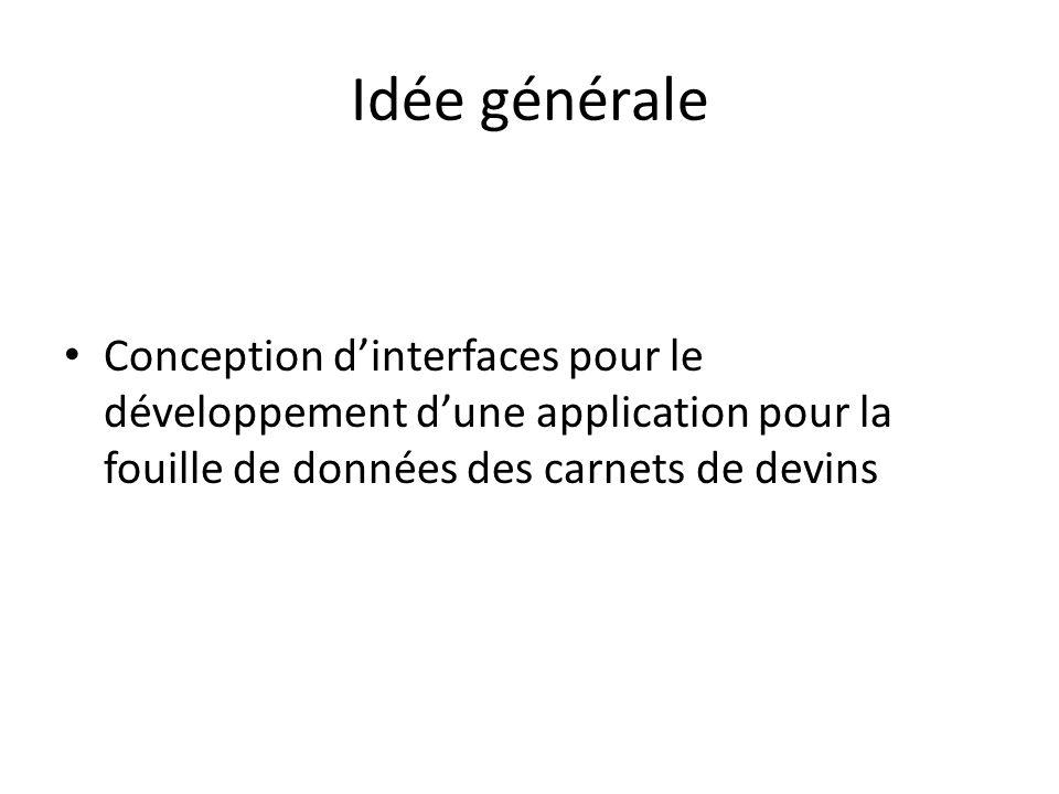 Idée générale Conception dinterfaces pour le développement dune application pour la fouille de données des carnets de devins