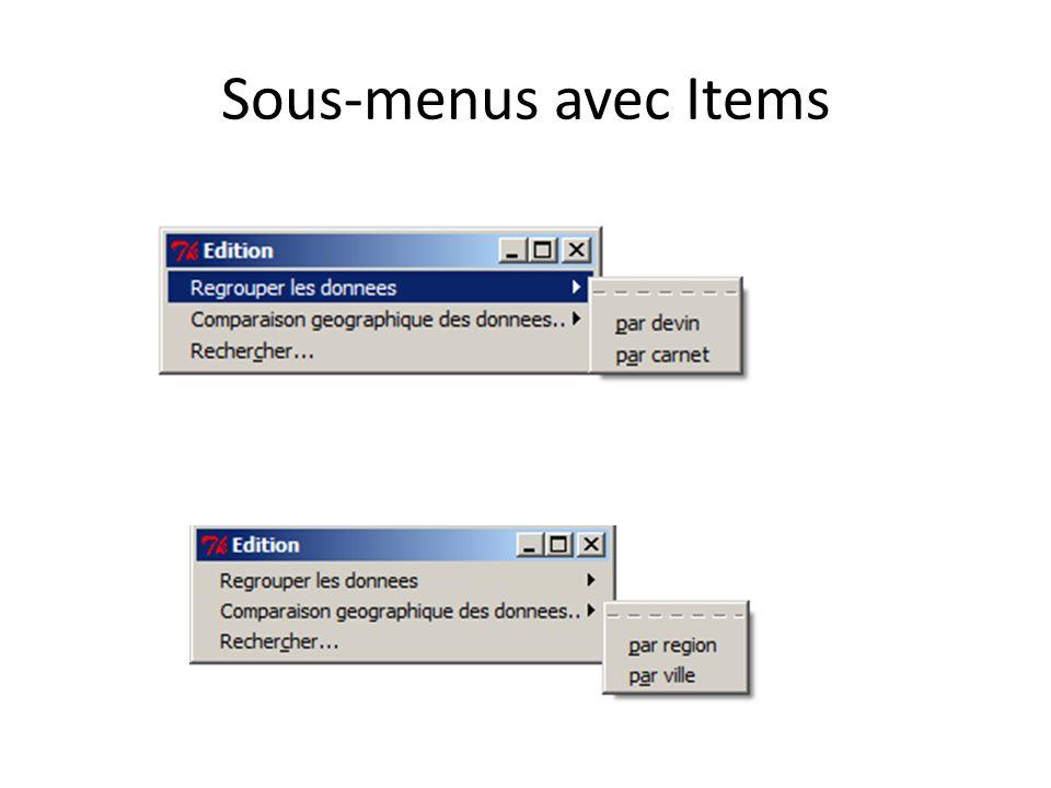 Sous-menus avec Items
