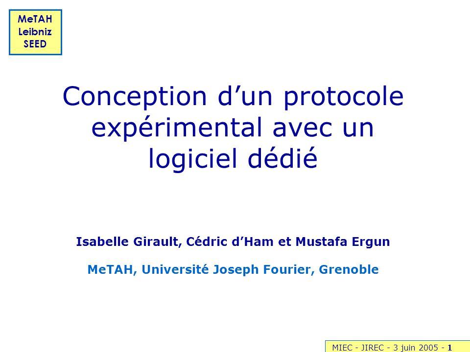 MIEC - JIREC - 3 juin 2005 -1 MeTAH Leibniz SEED Conception dun protocole expérimental avec un logiciel dédié Isabelle Girault, Cédric dHam et Mustafa