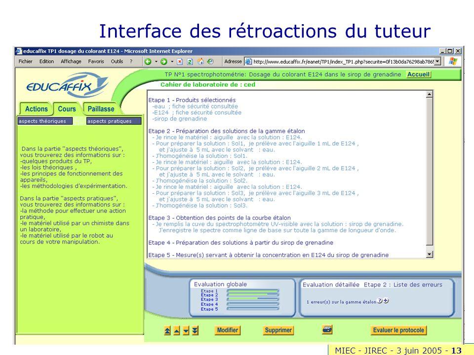 MIEC - JIREC - 3 juin 2005 -13 MeTAH Leibniz SEED Interface des rétroactions du tuteur
