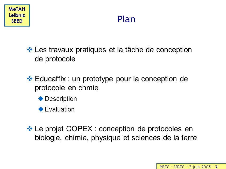 MIEC - JIREC - 3 juin 2005 -2 MeTAH Leibniz SEED Les travaux pratiques et la tâche de conception de protocole Educaffix : un prototype pour la concept