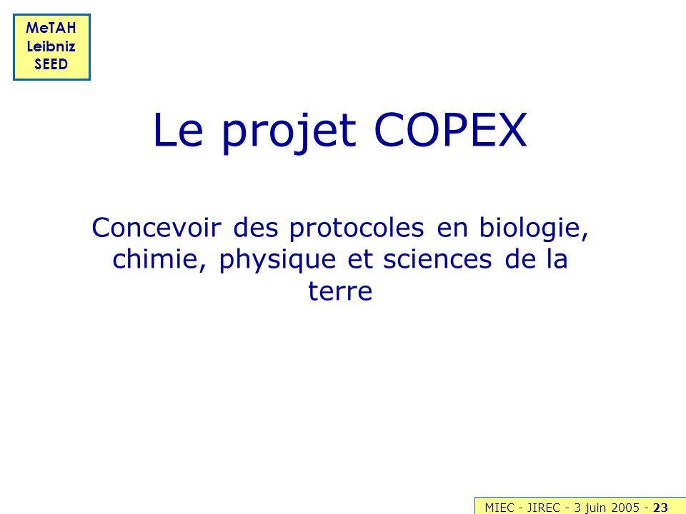 MIEC - JIREC - 3 juin 2005 -23 MeTAH Leibniz SEED Le projet COPEX Concevoir des protocoles en biologie, chimie, physique et sciences de la terre