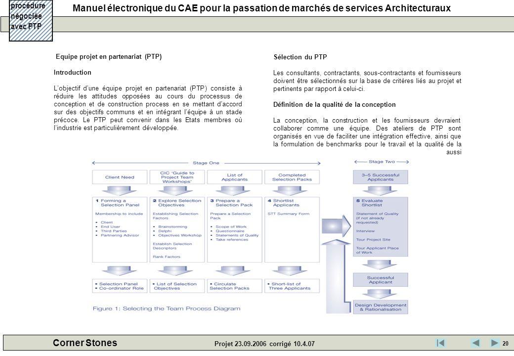 Manuel électronique du CAE pour la passation de marchés de services Architecturaux Corner Stones Projet 23.09.2006 corrigé 10.4.07 Equipe projet en pa