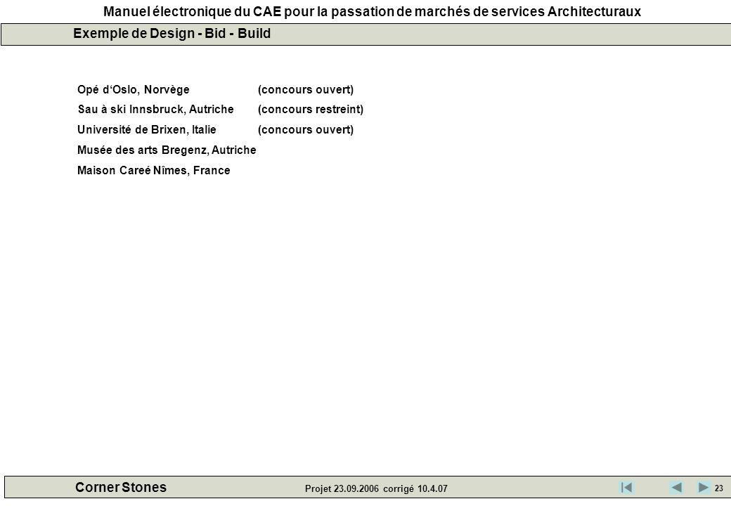Manuel électronique du CAE pour la passation de marchés de services Architecturaux Corner Stones Projet 23.09.2006 corrigé 10.4.07 Exemple de Design -