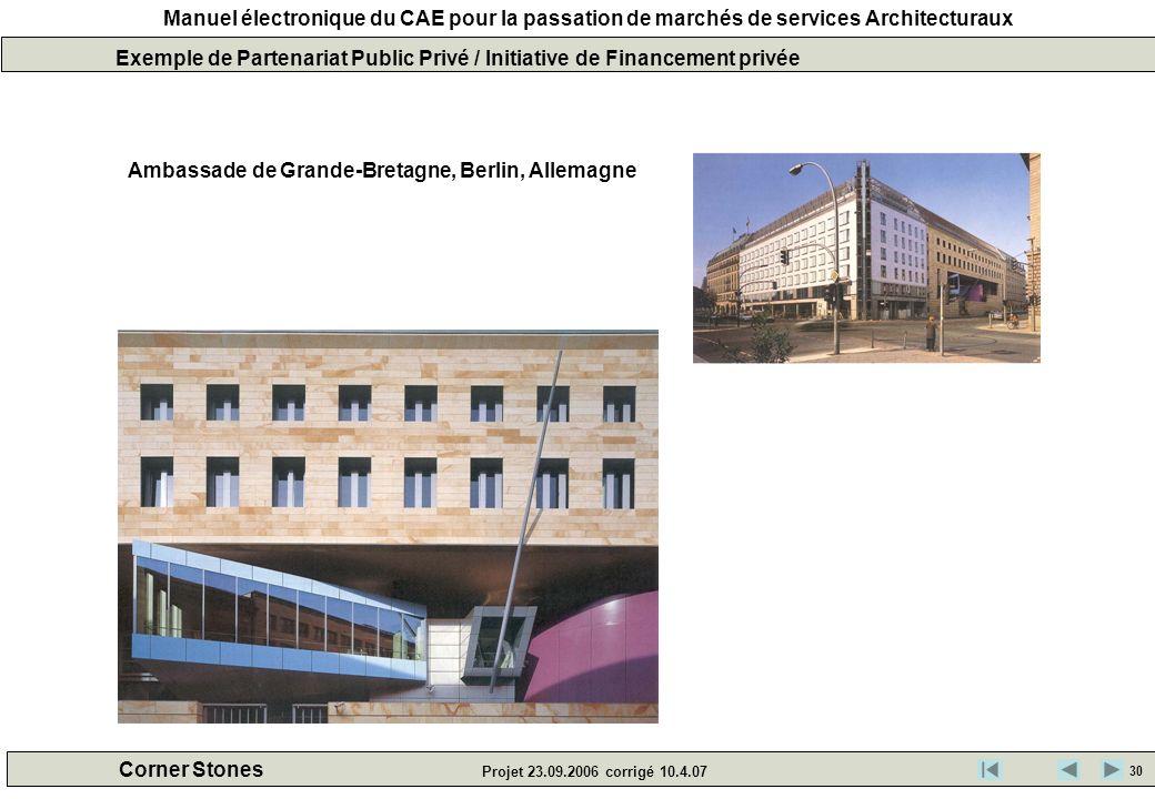 Manuel électronique du CAE pour la passation de marchés de services Architecturaux Corner Stones Projet 23.09.2006 corrigé 10.4.07 Exemple de Partenar