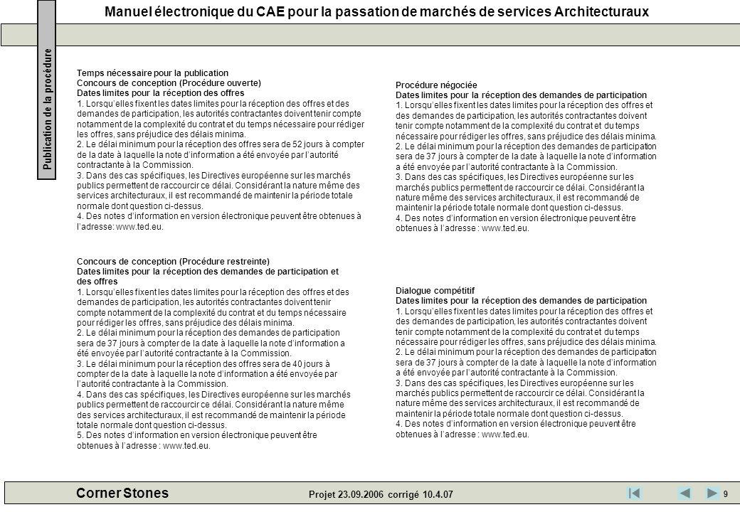 Manuel électronique du CAE pour la passation de marchés de services Architecturaux Corner Stones Projet 23.09.2006 corrigé 10.4.07 Temps nécessaire po
