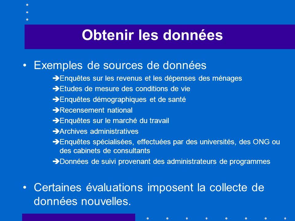 Obtenir les données Exemples de sources de données Enquêtes sur les revenus et les dépenses des ménages Etudes de mesure des conditions de vie Enquête