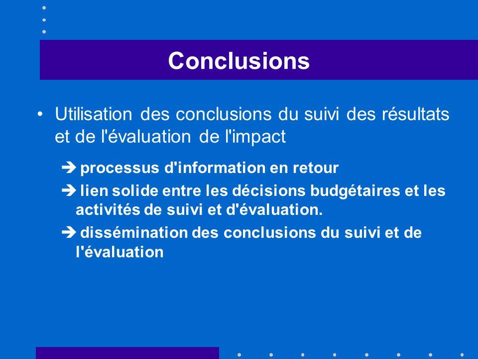 Conclusions Utilisation des conclusions du suivi des résultats et de l évaluation de l impact processus d information en retour lien solide entre les décisions budgétaires et les activités de suivi et d évaluation.