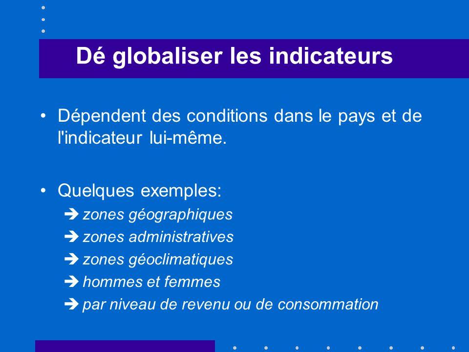 Dé globaliser les indicateurs Dépendent des conditions dans le pays et de l indicateur lui-même.