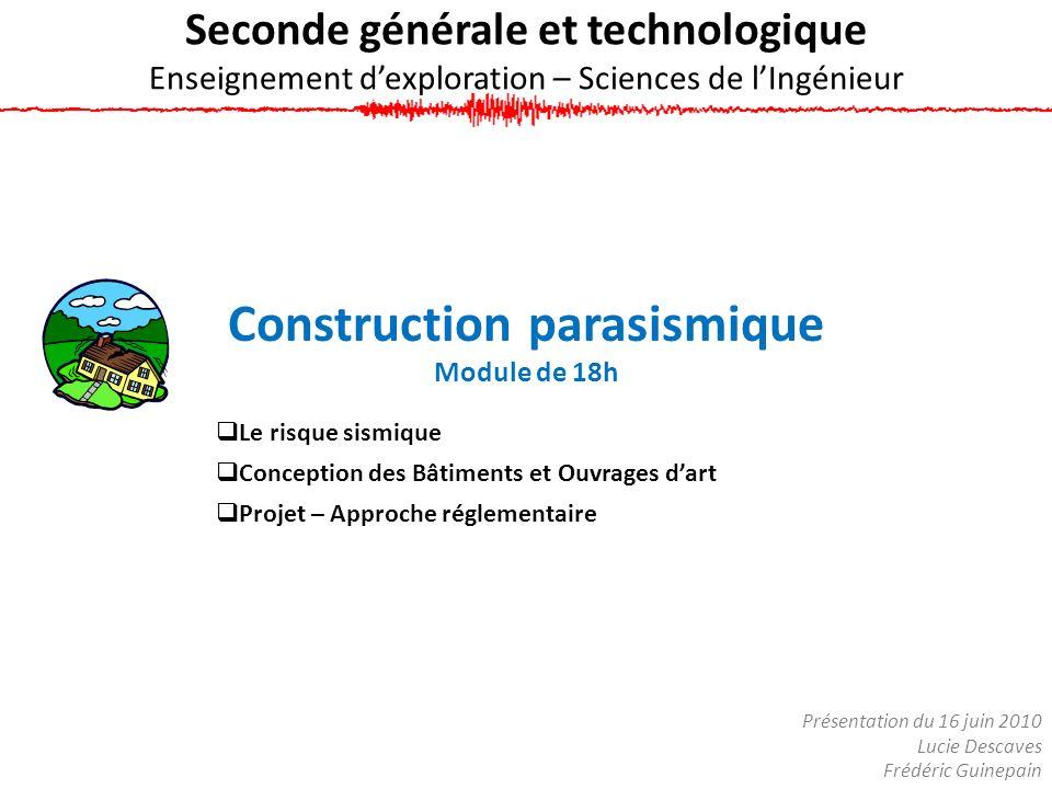Seconde générale et technologique Enseignement dexploration – Sciences de lIngénieur Construction parasismique Module de 18h Le risque sismique Concep