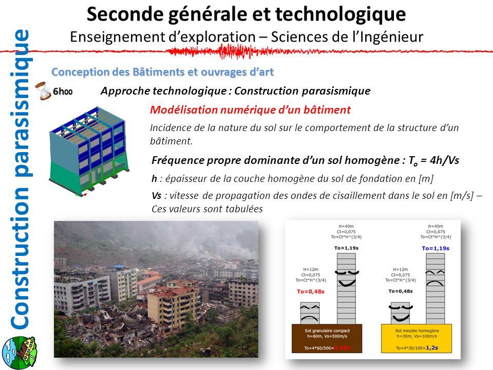 Conception des Bâtiments et ouvrages dart Approche technologique : Construction parasismique Modélisation numérique dun bâtiment Incidence de la natur