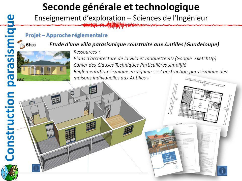 Projet – Approche réglementaire Etude dune villa parasismique construite aux Antilles (Guadeloupe) Ressources : Plans darchitecture de la villa et maq