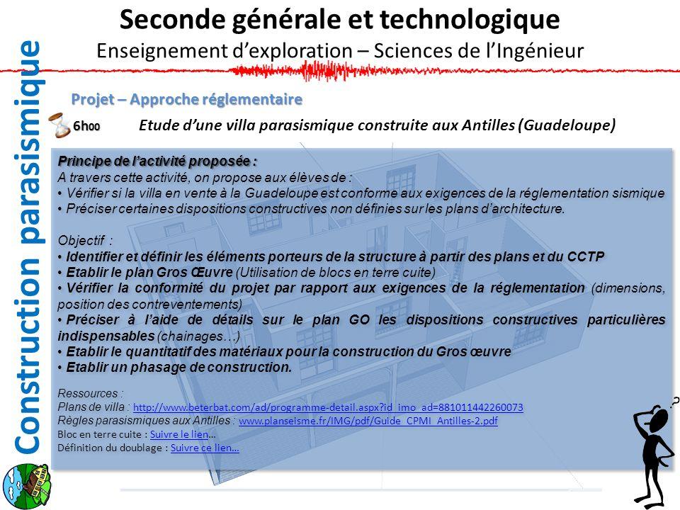 Projet – Approche réglementaire Etude dune villa parasismique construite aux Antilles (Guadeloupe) Seconde générale et technologique Enseignement dexp