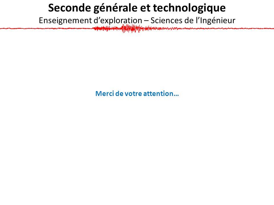 Seconde générale et technologique Enseignement dexploration – Sciences de lIngénieur Merci de votre attention…