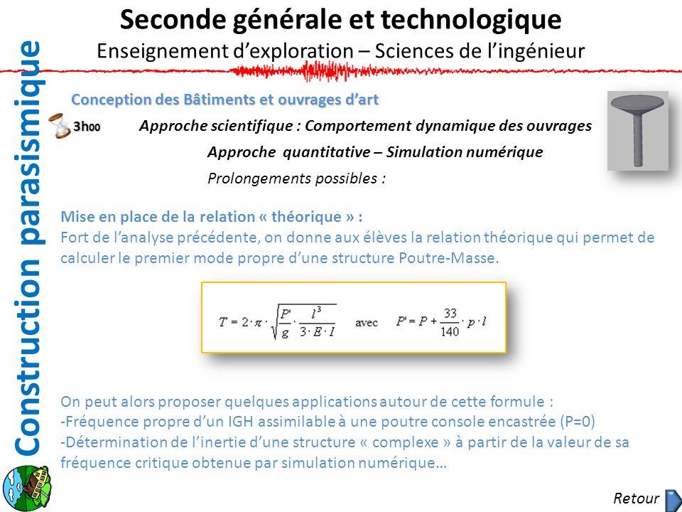 Conception des Bâtiments et ouvrages dart Approche scientifique : Comportement dynamique des ouvrages Approche quantitative – Simulation numérique Pro