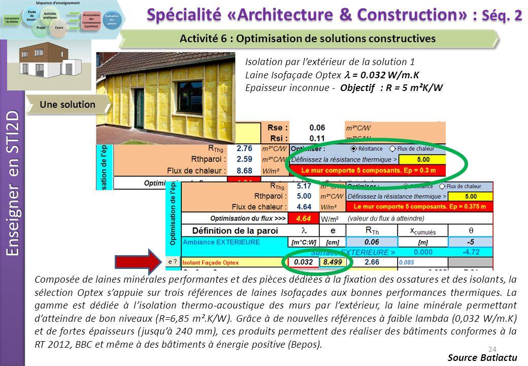 Enseigner en STI2D 25 Spécialité «Architecture & Construction» : Séq.