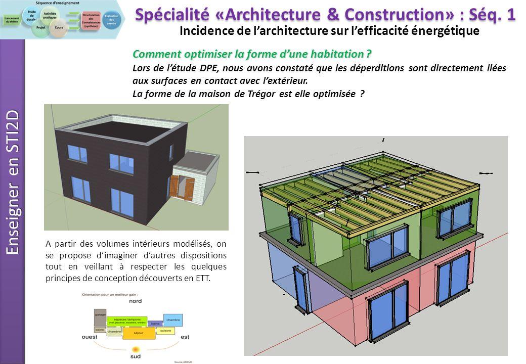 Enseigner en STI2D Incidence de larchitecture sur lefficacité énergétique 1 1 – Récupérer les différents volumes de la maison étudiée On dispose : Dun fichier SketchUp contenant la modélisation des volumes.