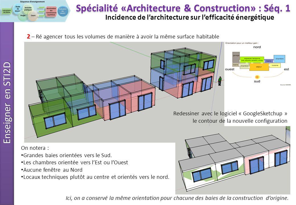 Enseigner en STI2D Incidence de larchitecture sur lefficacité énergétique 3 3 – Comparer les solutions et déduire des règles déco-conception Spécialité «Architecture & Construction» : Séq.