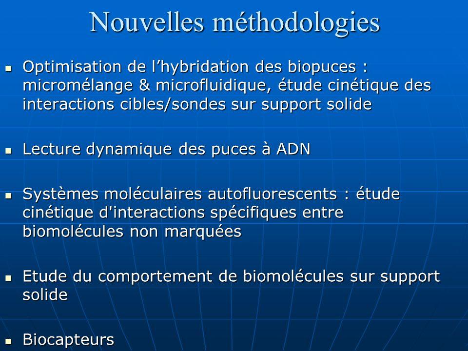 Nouvelles méthodologies Optimisation de lhybridation des biopuces : micromélange & microfluidique, étude cinétique des interactions cibles/sondes sur