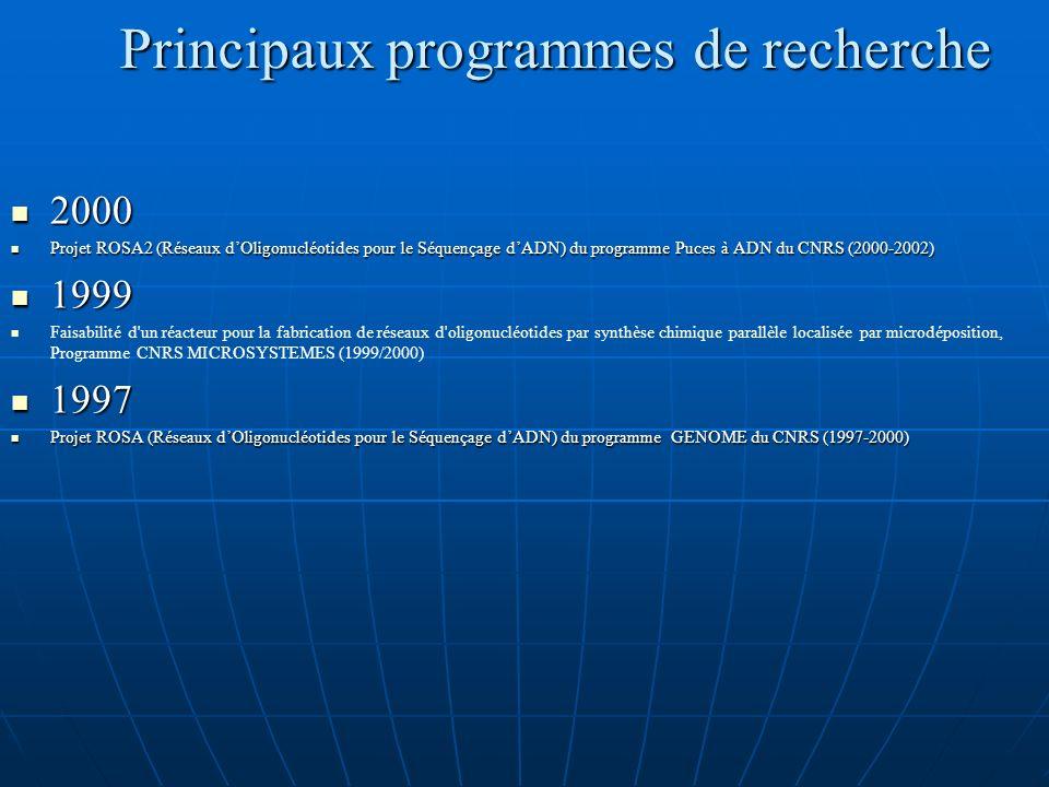 Principaux programmes de recherche 2000 2000 Projet ROSA2 (Réseaux dOligonucléotides pour le Séquençage dADN) du programme Puces à ADN du CNRS (2000-2