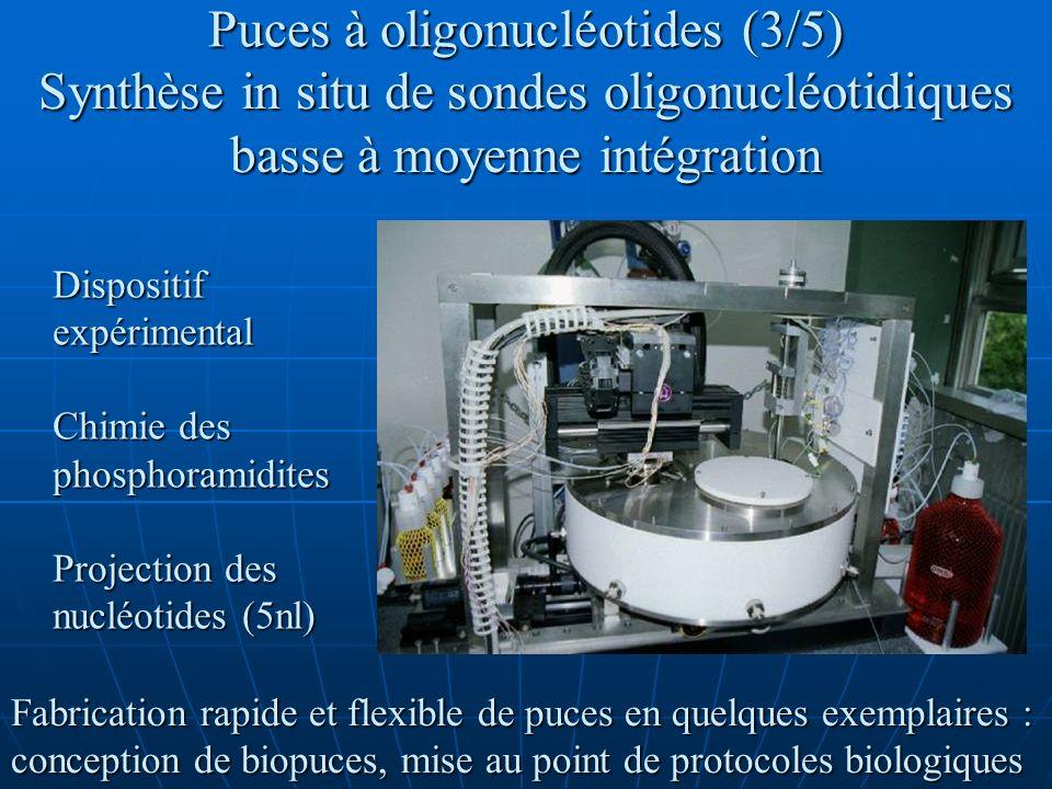 Puces à oligonucléotides (4/5) Synthèse in situ des sondes oligonucléotidiques par la voie des phosphoramidites : adaptation du cycle de synthèse Couplage localisé par microprojection de la base et de lactivateur Autres réactions non localisées par microfluidique Réacteur anhydre et saturé en solvant