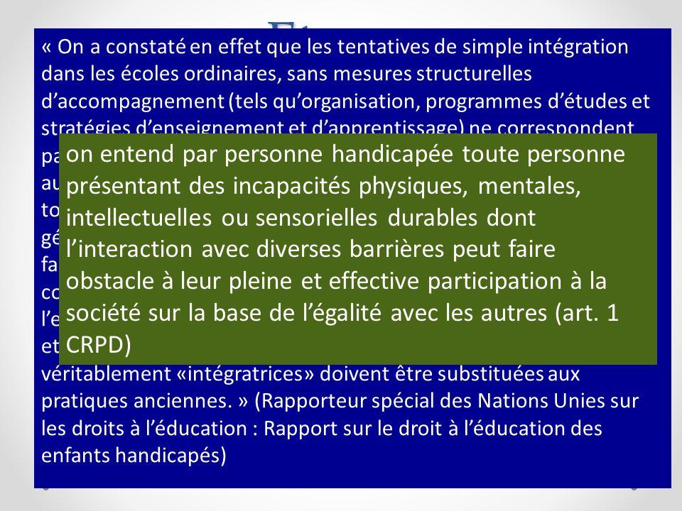 Etapes Conception traditionnelle: le handicap comme un stigmate: il ny a pas droit à léducation Conception médical ou individuelle: dès léducation spé
