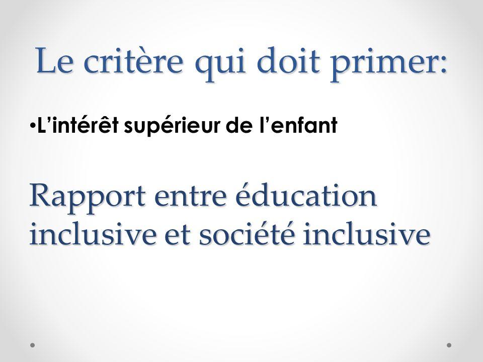 Le critère qui doit primer: Lintérêt supérieur de lenfant Rapport entre éducation inclusive et société inclusive