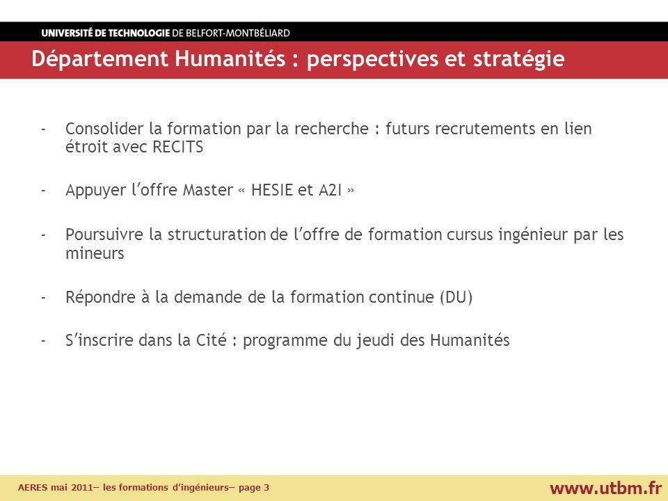 www.utbm.fr AERES mai 2011– les formations dingénieurs– page 3 -Consolider la formation par la recherche : futurs recrutements en lien étroit avec REC