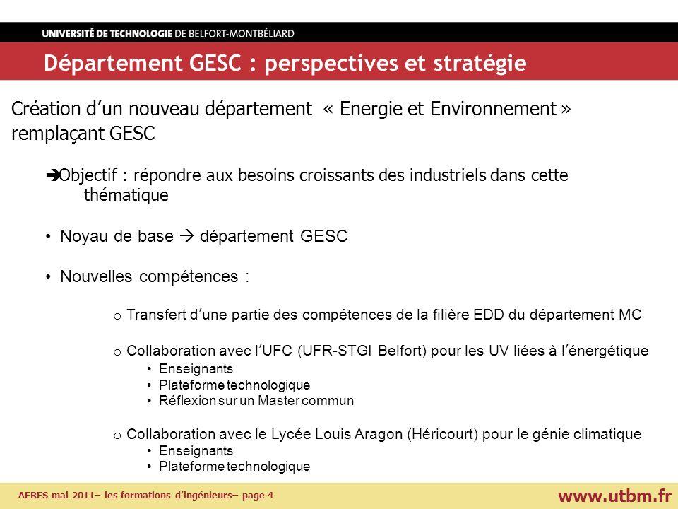 www.utbm.fr AERES mai 2011– les formations dingénieurs– page 4 Département GESC : perspectives et stratégie Création dun nouveau département « Energie