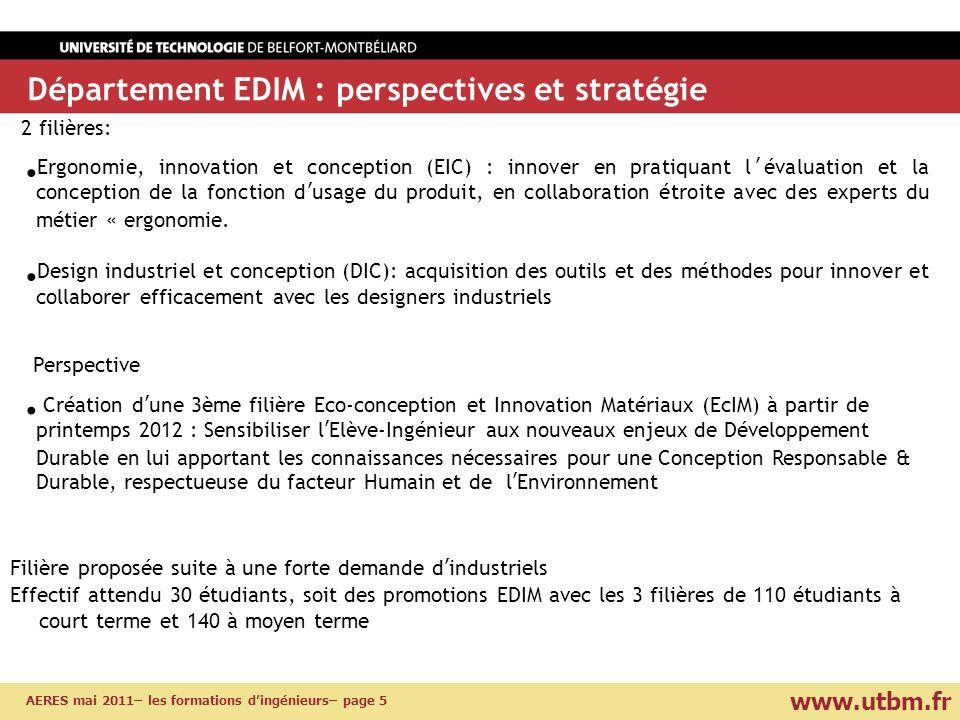 www.utbm.fr AERES mai 2011– les formations dingénieurs– page 5 Département EDIM : perspectives et stratégie Création dune 3ème filière Eco-conception